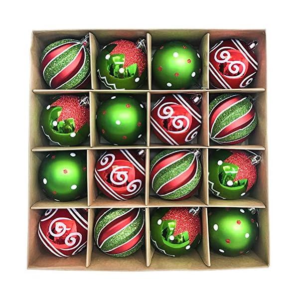 Victor's Workshop Addobbi Natalizi 16 Pezzi 8cm Palle di Natale, Delightful Elf Red Green And White Infrangibile Palla di Natale Ornamenti Decorazione per la Decorazione Dell'Albero di Natale 1 spesavip