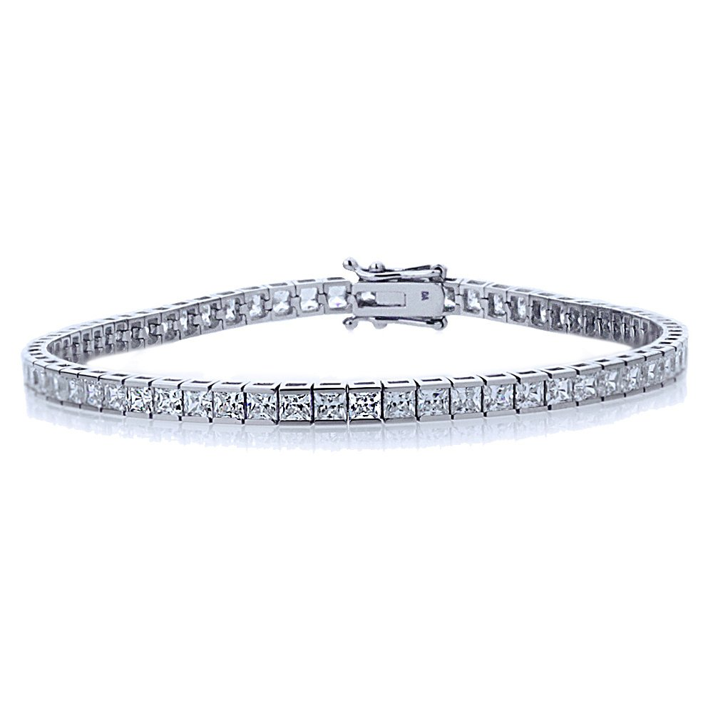 Double Accent Sterling Silver Rhodium Plated 2.5mm 6.8 ct.tw Princess CZ Channel Set Tennis Bracelet