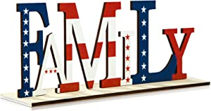 Patriotic Decorations for Home, Family Letter Sign Patriotic Wooden Decorative Plaque, 4th of July American Flag Blessed Table Block Sign Centerpiece Decor