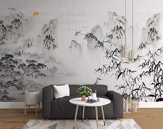 Mural Modern Chinese Ink Flower Living Room Scandinavian Decorative Painting Restaurant Painting Bedroom Sofa Background Wall Painting Color : A, Size : 6080CM
