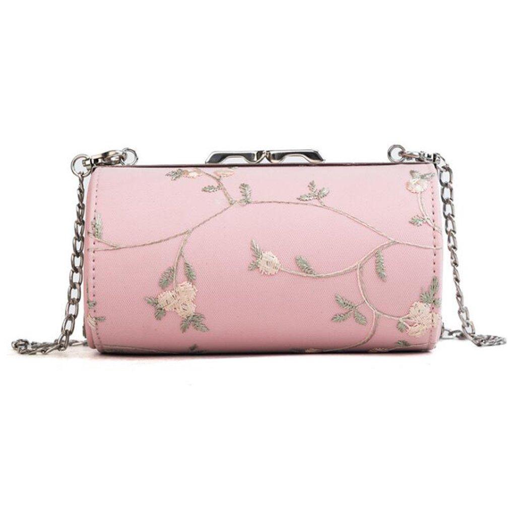 Liu Yu·casa creativa Bolso de Crossbody Bolso de la Mujer Hombro Diagonal Salvaje Femenina Bolsa Personalidad Tambor Bolso Mochila de Moda (Color : Pink): ...