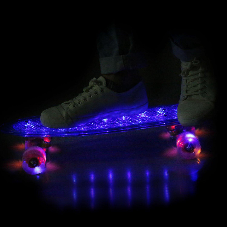 57cm Mini Cruiser Retro Skateboard Komplettboard Vintage Skate Board mit Kunststoff Deck und blinkenden LED-Rollen f/ür Jugendliche und Erwachsene Jungen M/ädchen Kinder