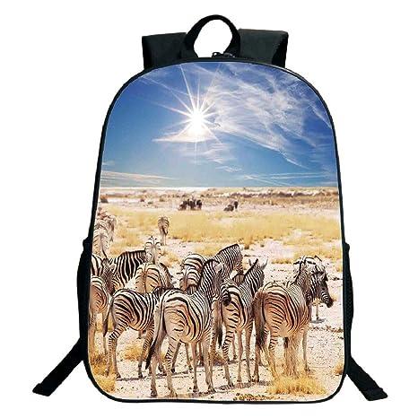 23ad10d857fd Amazon.com: 3D Print Design Black School Bag,backpacksWildlife Decor ...