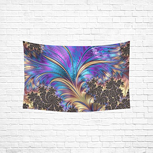 YUMOING Tapestry Fractal Feather Swirl Purple Blue Gold Black Hippie Tapestries Wall Hanging Flower Tapestry Wall Hanging Dorm Decor For Living Room Bedroom 60 X 40 Inch