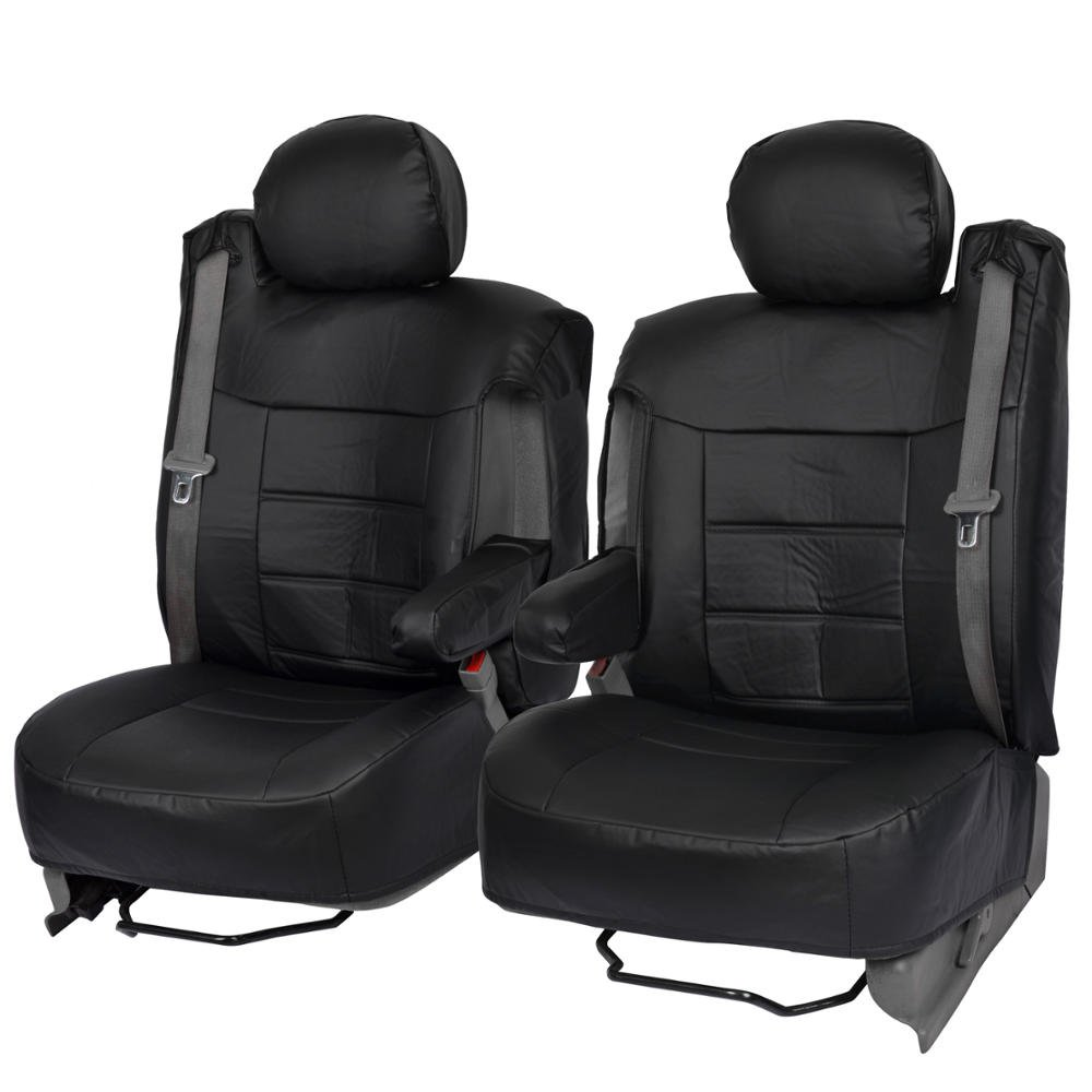 Black PU Leather Seat Covers Luxury Leatherette for Car Truck Van - Armrest & Integrated Seatbelt