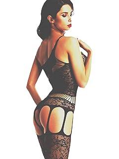 2cea9c631b5 Amoretu Women Lace Tights Crotchless Lingerie Suspender Fishnet Bodystocking