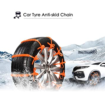 Van Shmbada Rubber Tire Snow Chains Kit M Anti Skid Emergency Traction Aid for Car SUV with Snow Scraper Tire Width: 165-285mm//6.5-11.2 4 PCS Used for 2 Road Terrain Tires
