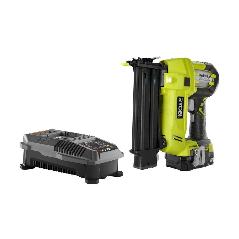 Ryobi P854 ONE Plus 18V Cordless Lithium-Ion 2 in. Brad Nailer Kit One Battery Charger included