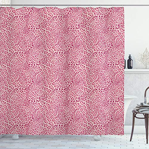 Ambesonne Animal Print Collection, Animal Print Leopard Skin Pattern Girly Design Trendy Decorating Illustration , Polyester Fabric Bathroom Shower Curtain, 84 Inches Extra Long, Pink (Ideas Animal Print Decorating Bathroom)