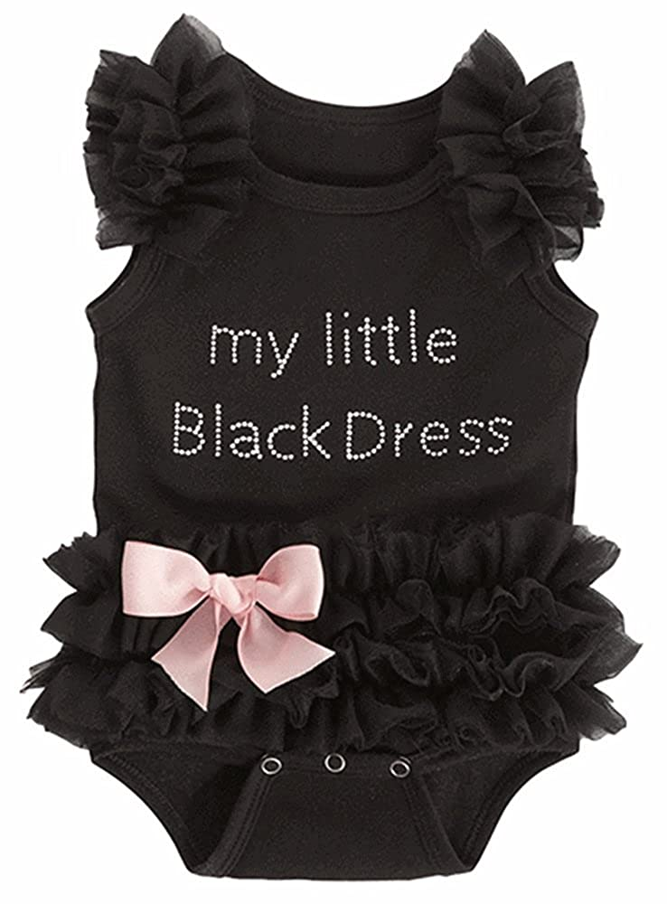 Geekercity Baby Girls Embroidered My Little Black Dress Lace Tutu Bodysuit Rompers