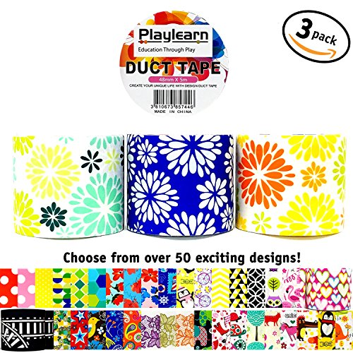 Design Duct Tape 48mm x 16 Feet - Kids Fun Extra Strong Printed Arts & Crafts Multi Pack - By Playlearn (Spring Bloom)