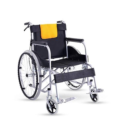 silla de ruedas Plegable Ligera, con Frenos, Soporte Doble ...
