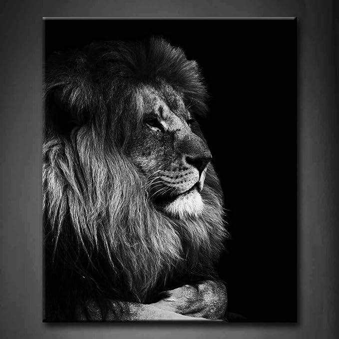 NIMCG Imagen de Arte de Pared León Blanco y Negro Impresión ...
