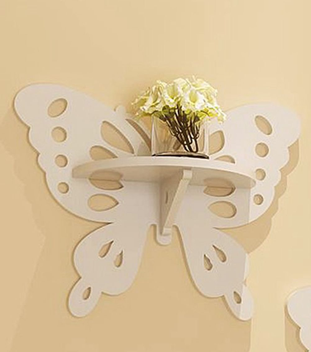 VERCART Butterfly Wall Hanging Mural Wall Shelf Ledge Lovely Decorations Environmentally Friendly Household Storage
