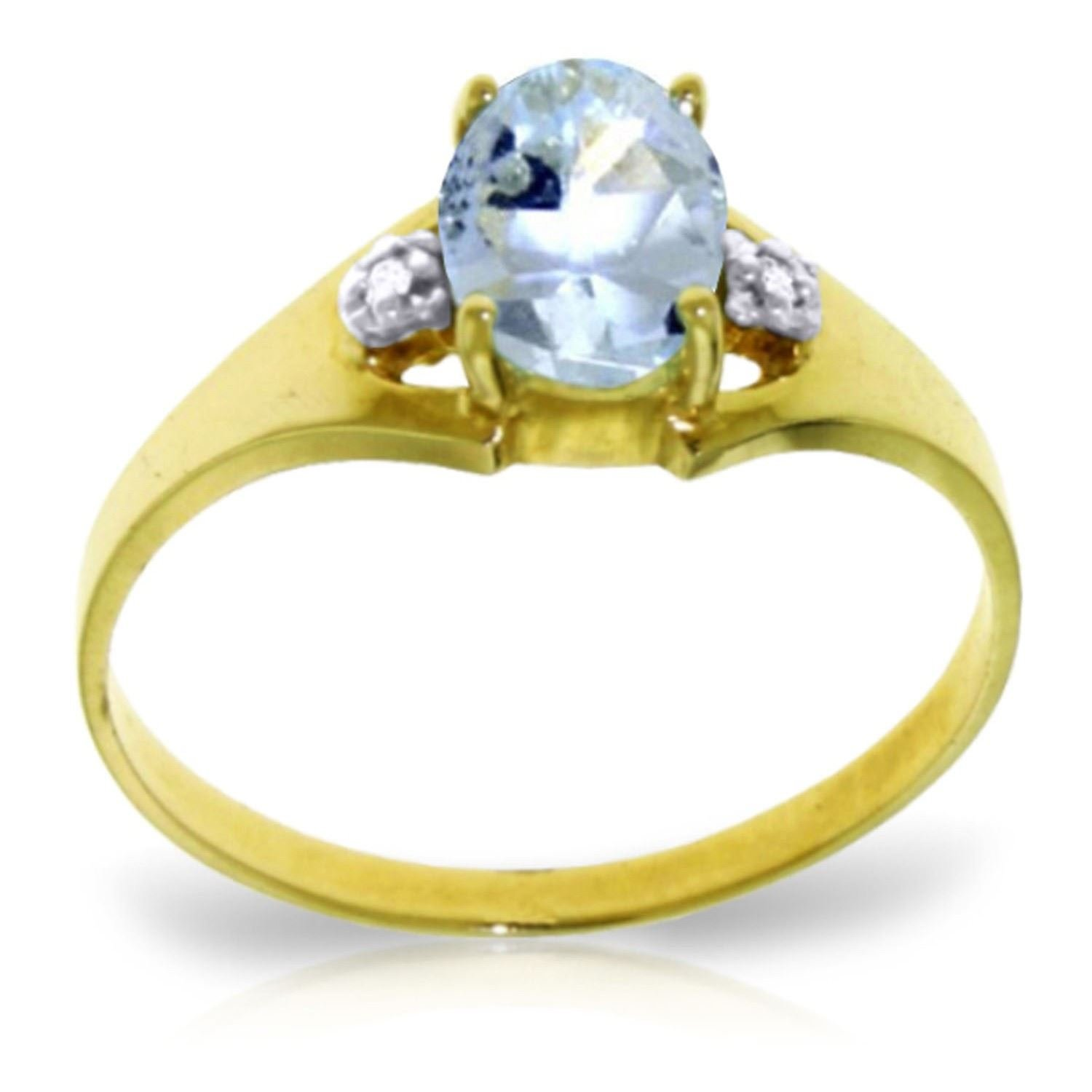 ALARRI 0.76 Carat 14K Solid Gold Permitted To Love Aquamarine Diamond Ring With Ring Size 8.5