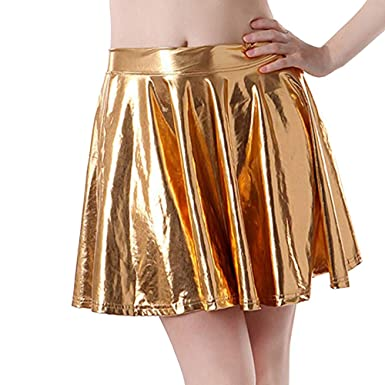 Lenfesh Mujeres Falda de Cuero Retro Mini Falda Plisada A-Line ...