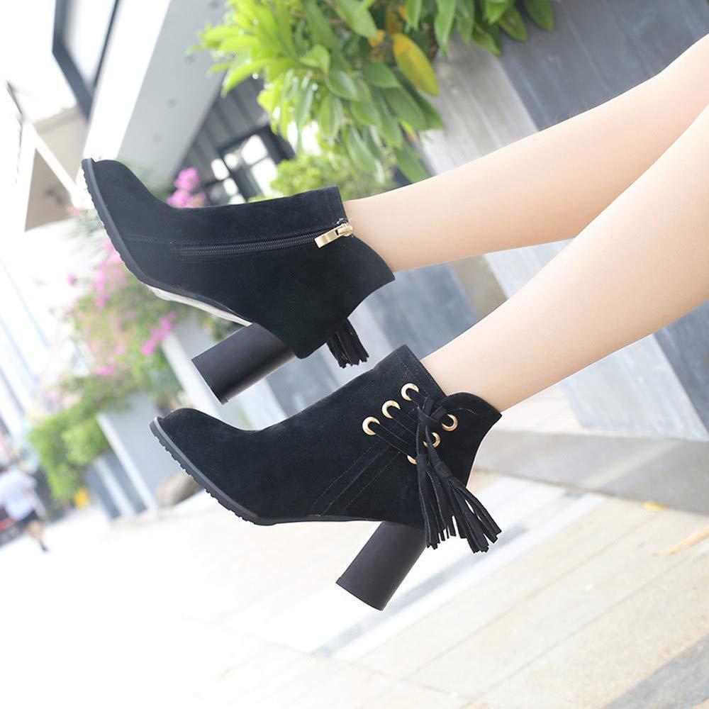 ZHRUI Stiefel Damen Schuhe Damenstiefel Mode Mode Mode Frauen Runde Kappe High Heel Schuhe Quaste Wildleder Martin Stiefel Reißverschluss Stiefel Freizeitschuhe (Farbe   Schwarz, Größe   38 EU) b55309