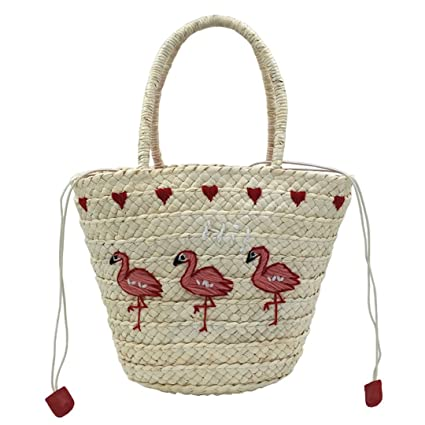 Amazon.com  Embroidery Women s Hand Bag Large Straw Shoulder Bag ... fa2a7028e1