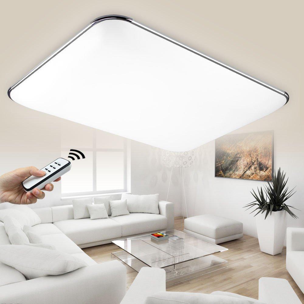 NatsenR LED Deckenlampe Modern Wandlampe Wohnzimmer Silber 36W Voll Dimmbar Fernbedienung Chrom I503Y