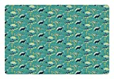 Ambesonne Turtle Pet Mat for Food and Water, Underwater Wildlife Composition with Wavy Ocean and Colorful Animals with Shells, Rectangle Non-Slip Rubber Mat for Dogs and Cats, Multicolor