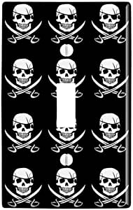 Graphics More Pirate Skull Crossed Swords Jolly Roger Plastic Wall Decor Toggle Light Switch Plate Cover Furniture Decor