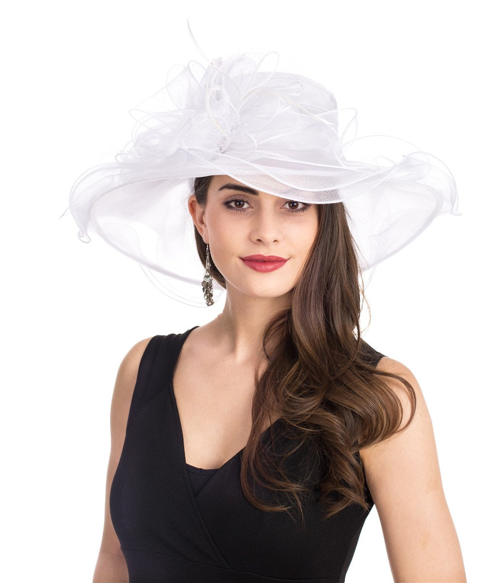 SAFERIN Women's Organza Church Kentucky Derby Fascinator Bridal Tea Party Wedding Hat (3190-White Mash)