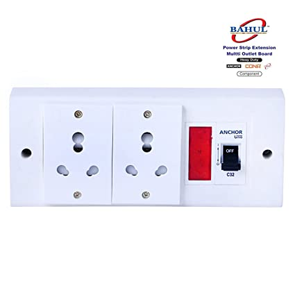BAHUL power strip extension multi outlet board Fitted with 2 Anchor Sockets(15 Amp),1 indicator ,1 MCB with 4 Metre Chord With 15 Amp Plug