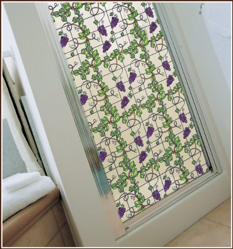 Grapevine Stained Glass Privacy Static Cling Window Film 24inch x (Grapevine Three Light)