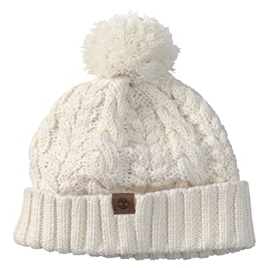 191a843e416 Timberland Women`s Cable Knit Pom Hat (Off White(2331) Brown