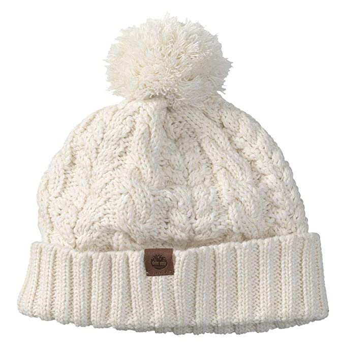 64016a4cd68 Timberland Women`s Cable Knit Pom Hat (Off White(2331) Brown