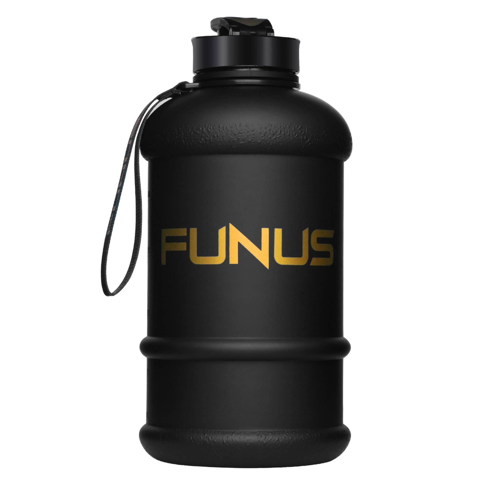 FUNUS Big Water Bottle 1.3L-2.2L Odorless Water Jug BPA Free Leak Proof Reusable Big Capacity for Men Women Fitness Gym Outdoor Climbing (1.3L Matte Black) by FUNUS