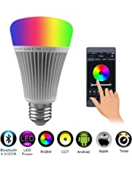 Bluetooth Smart LED Light Bulb 8W RGB+Warm White+Cool White Wireless Color Changing And CCT Color Temperature Dimming Changeable Controlled By IOS Apple Iphone /Android Smartphone AC 85-265V