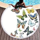 Sleepwish Butterfly Beach Mat Beach Throw Roundie Towel Round Meditation Yoga Mat Sunscreen Shawl Wrap Skirt (Colorful Butterflies, 60'')