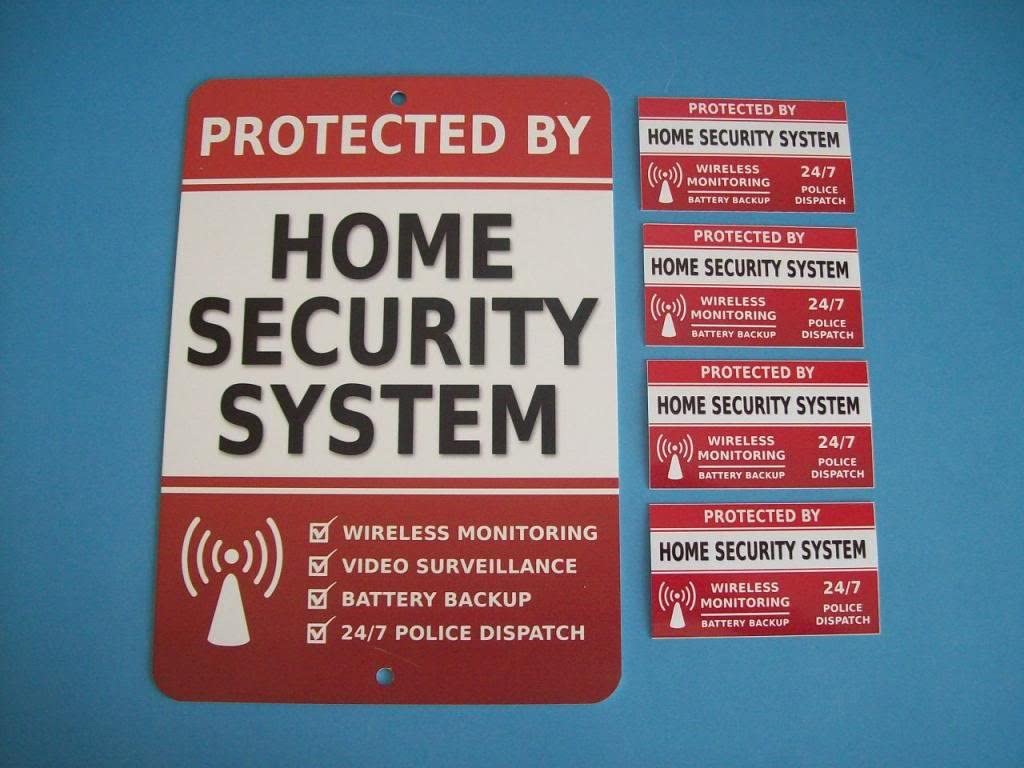 """Home Security Alarm System 7"""" x 10"""" Metal Yard Sign & 4 Window Stickers - Stock # 703"""