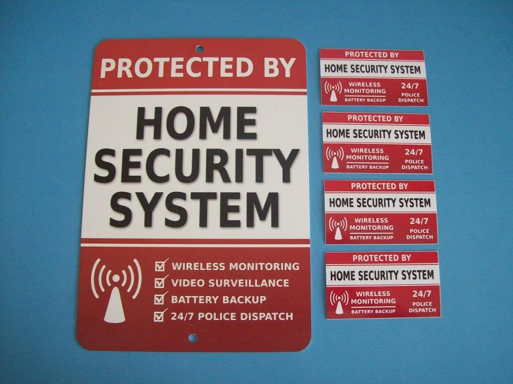 Home Security Alarm System Yard Sign & 4 Window Stickers - Stock # 703