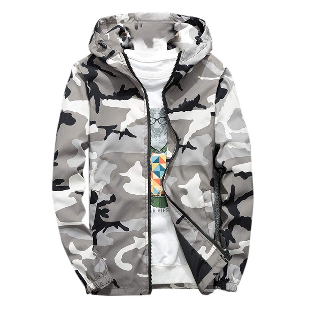 Allywit Mens' Hoodie Long Sleeve Camouflage Sweatshirt Tops Autumn Jacket Coat Material:Polyester