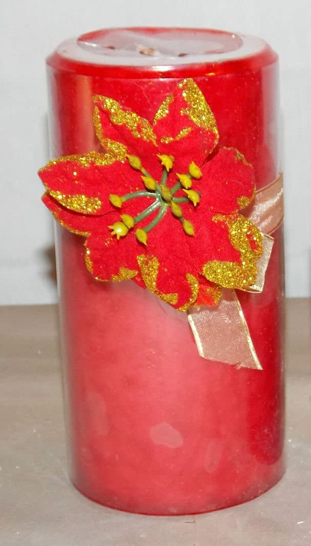 """4"""" Apple Crisp Scented Pillar Wax Candle Gift Bow and Poinsetta"""