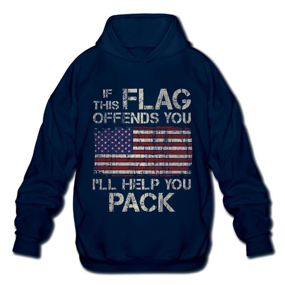 Ill Help You Pack Mens Printed Hooded Sweatshirt Sweater OPQRSTQ-O If This Flag Offends You