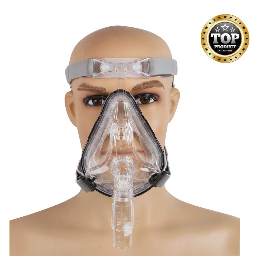 Denshine Full Face Mask with Free Adjustable Headgear - Comfortable to Wear (L) by Denshine