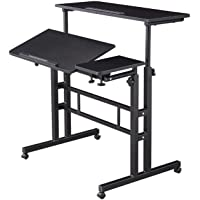 HOSEOKA Height Adjustable Rolling Desk Mobile Stand Up Desk with Wheels,Table Laptop Cart for Standing or Sitting