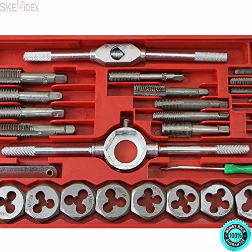 SKEMIDEX---40 Pc standard sae Tap And Die Set Bolt Screw Extractor Puller Kit New Removal And bottoming tap set tap and die set home depot tap and die set metric large tap and die set tap and die set
