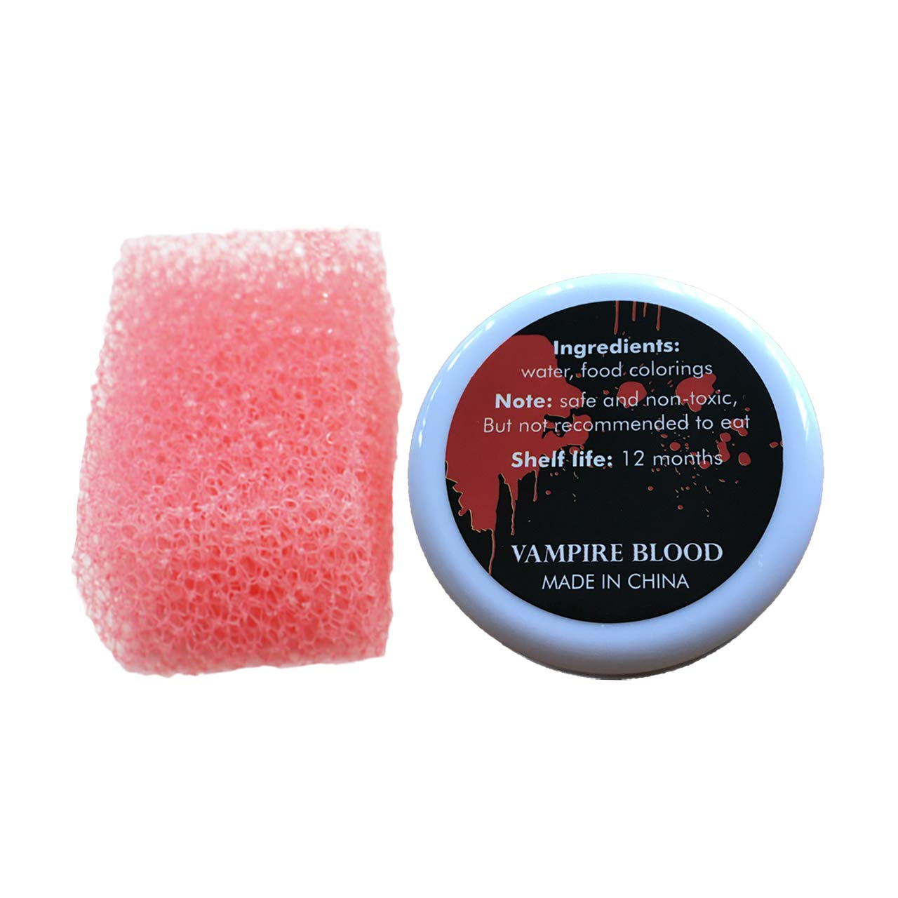 30g Halloween Coagulated Blood Gel with Stipple Sponge Party Artificial Fake Blood Film Makeup Cosplay