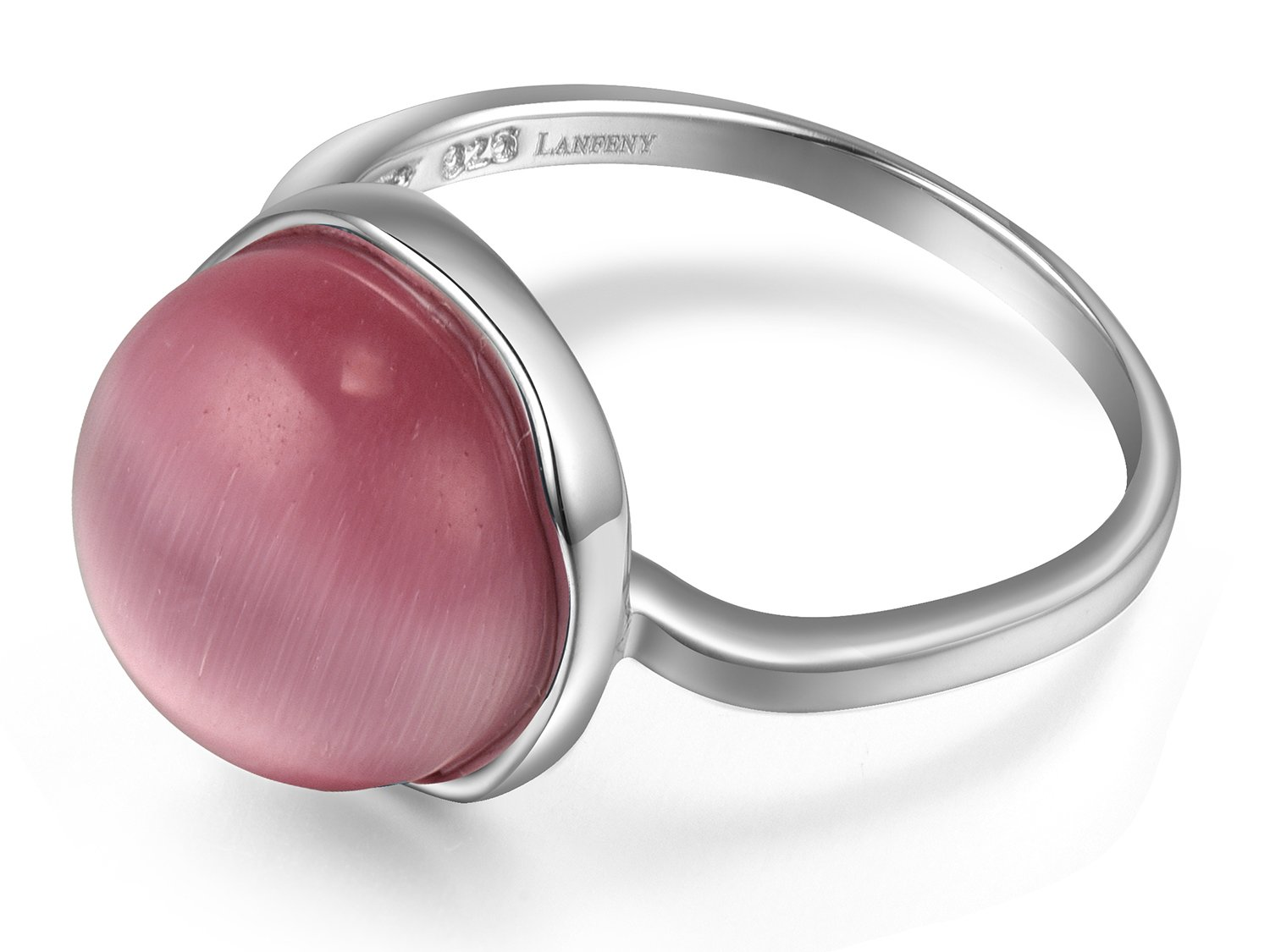 Lanfeny Rhodium Plated 925 Sterling Silver Ring with Simulated Watermelon Pink Cat's Eye Ball Solitaire,Size 8 by LANFENY (Image #2)
