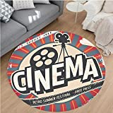 Nalahome Modern Flannel Microfiber Non-Slip Machine Washable Round Area Rug-tro Cinema Movie Vintage Paper Texture Hollywood Stars Decorative Design Beige Amber Grey area rugs Home Decor-Round 67''