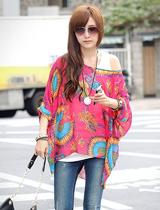 D-Trend Phoenix - Muster Unkonventionellen Stil Kleidung T-Shirt Fledermaus  Batwing Damebluse Tunika: Amazon.de: Bekleidung