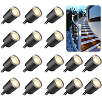 16 Pcs Recessed LED Deck Light with Dimmable Remote Control Kits for Outdoor Railing Stair Step, 12V Low Voltage…