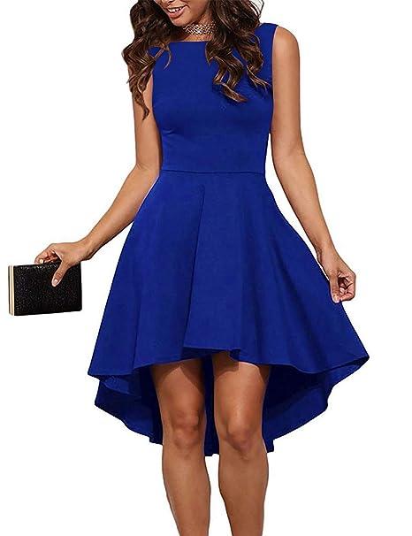 neueste trends online schön in der Farbe LaLaLa Damen Kleid Asymmetrisch Abendkleid Kurzarm ...