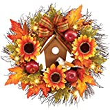 Collections Etc LED Lighted Fall Leaves and Sunflowers Birdhouse Door Wreath