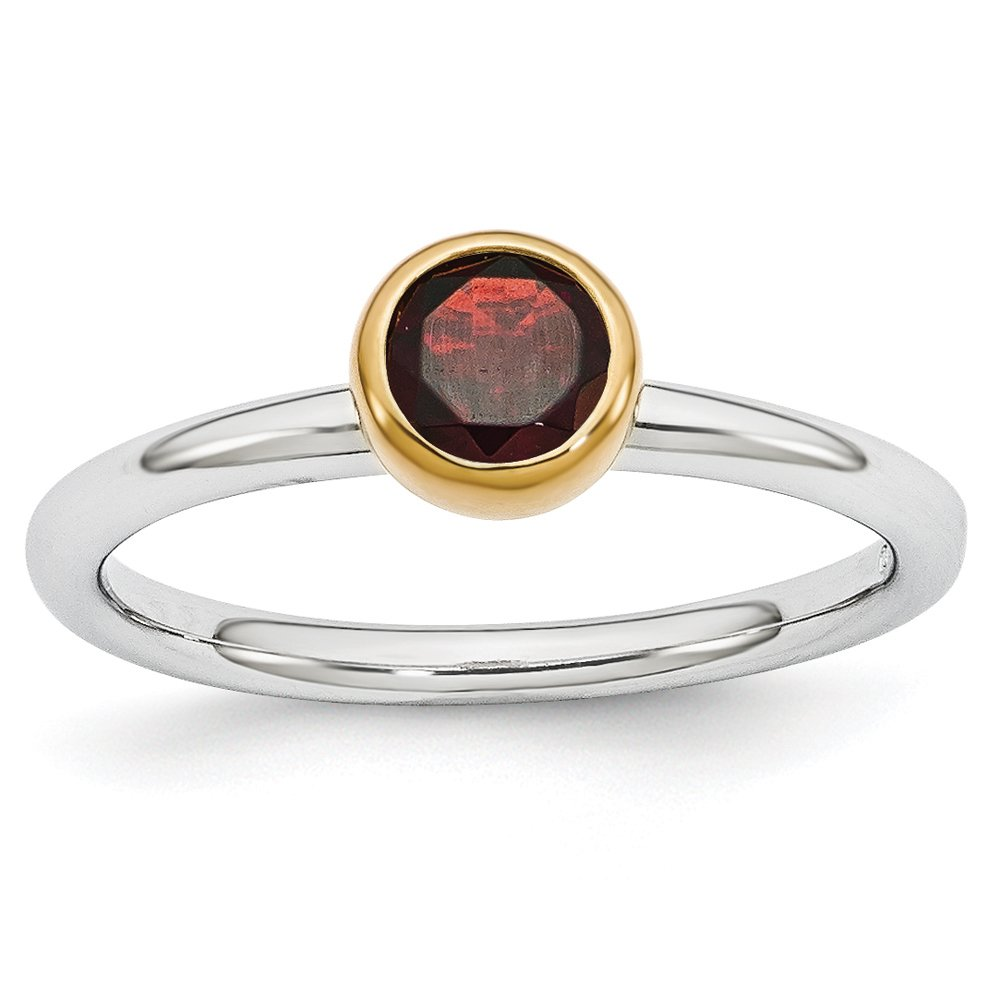 Two Tone Sterling Silver Stackable 5mm Round Garnet Ring Size 9