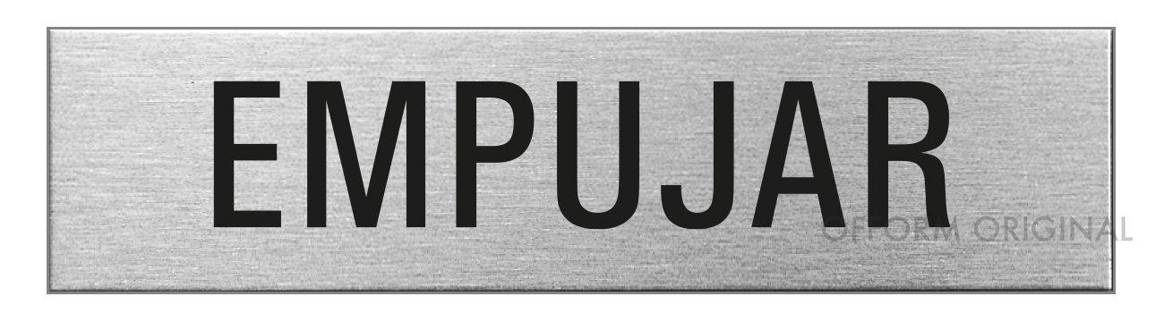 Ofform Placa de puerta l Señ al acero inoxidable con texto 'Empujar' l 160x40 mm l No.27083
